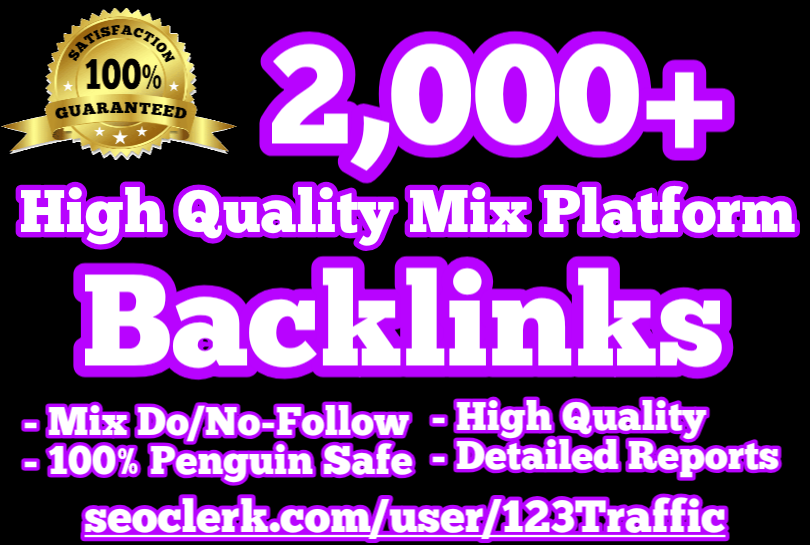 2,000+ Mix Platform Backlinks plus 2,500 Worldwide Web Traffic