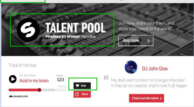 Give You 150 spinning Records Talent pool votes for your contest
