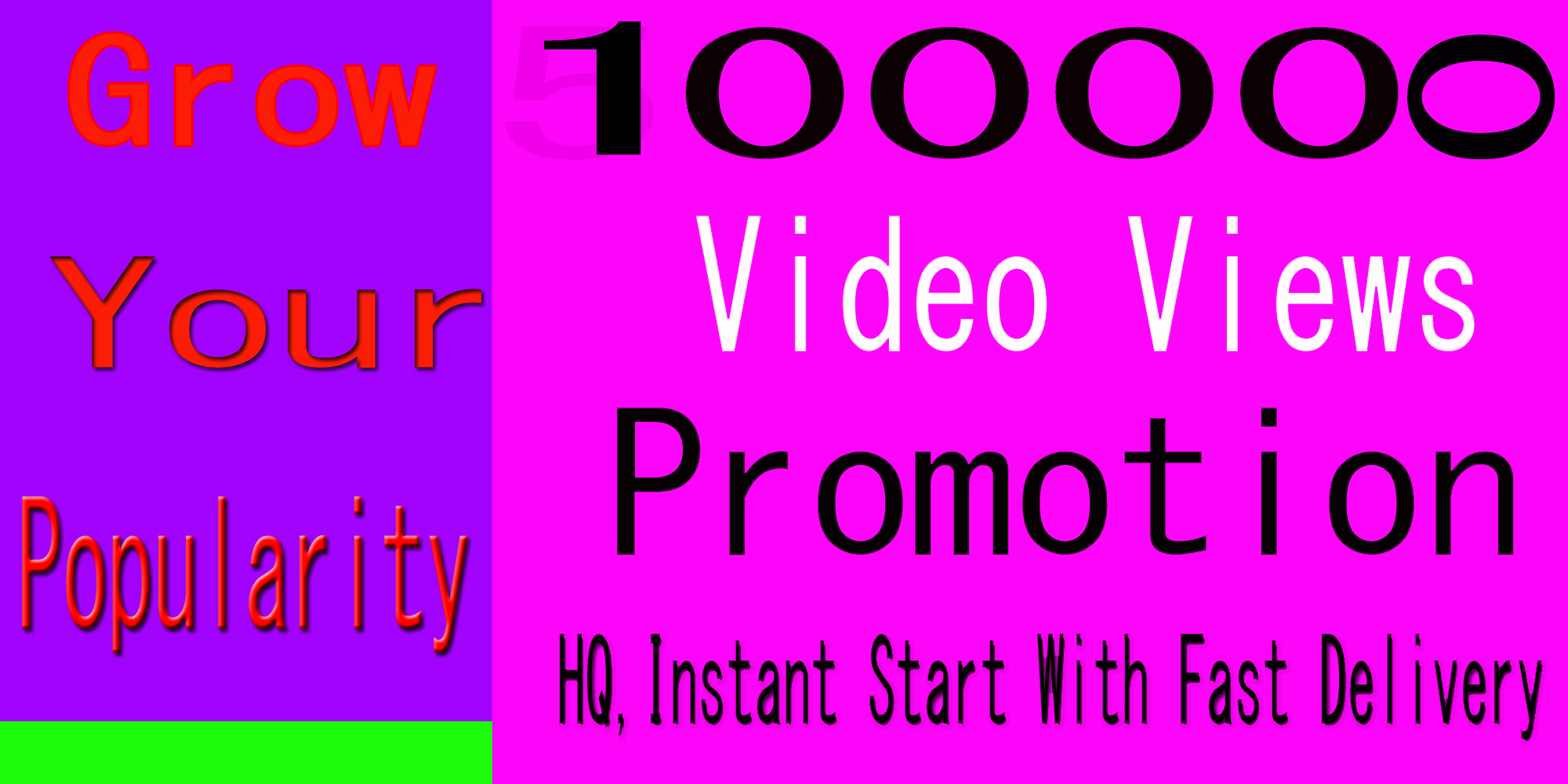 High Quality Instant Start 100k+ World Wide Video Views Promotion Social media