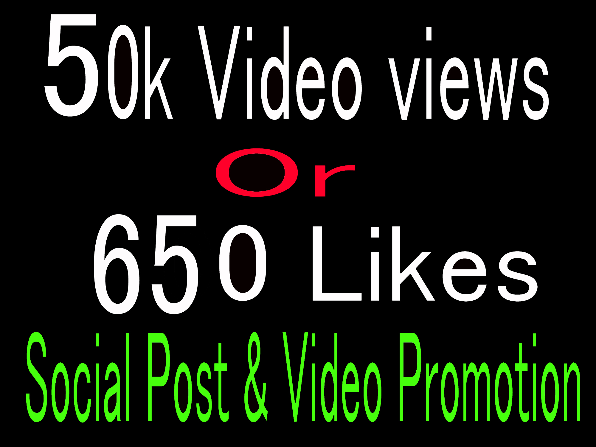 Instantly High Quality 50k video views 650+ Likes promotion, Social media Marketing