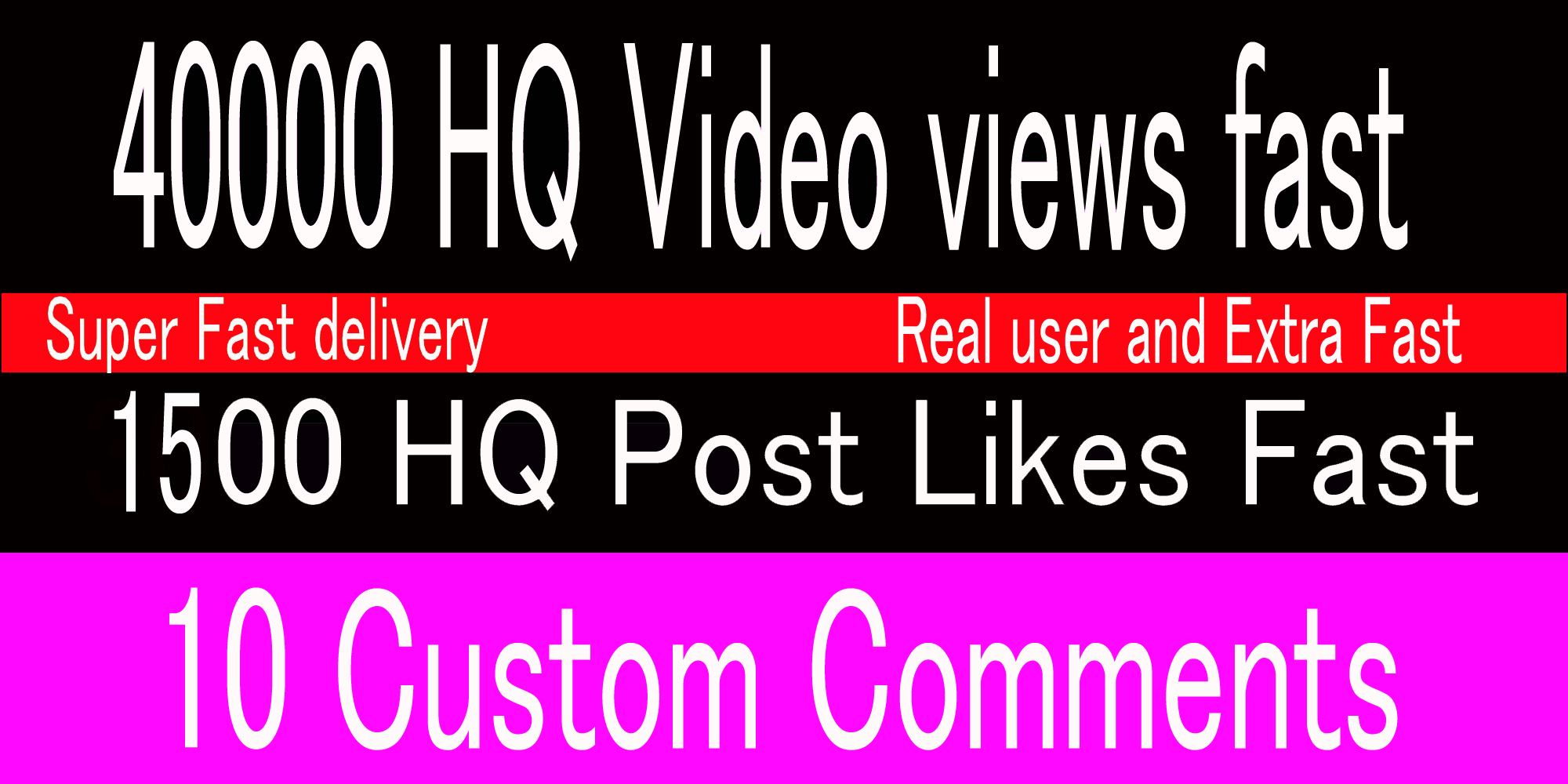 instant 40k video views or 1500+ Likes or 10 comments Social media promotion
