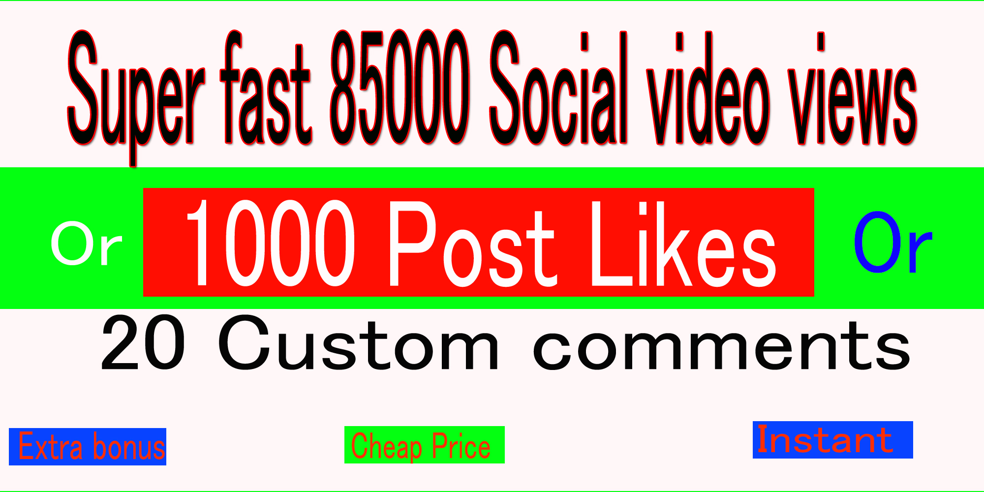 Hq, Instant Start 85k Social Video views or 1000 pic Likes or 20 comments Promotion,  followers
