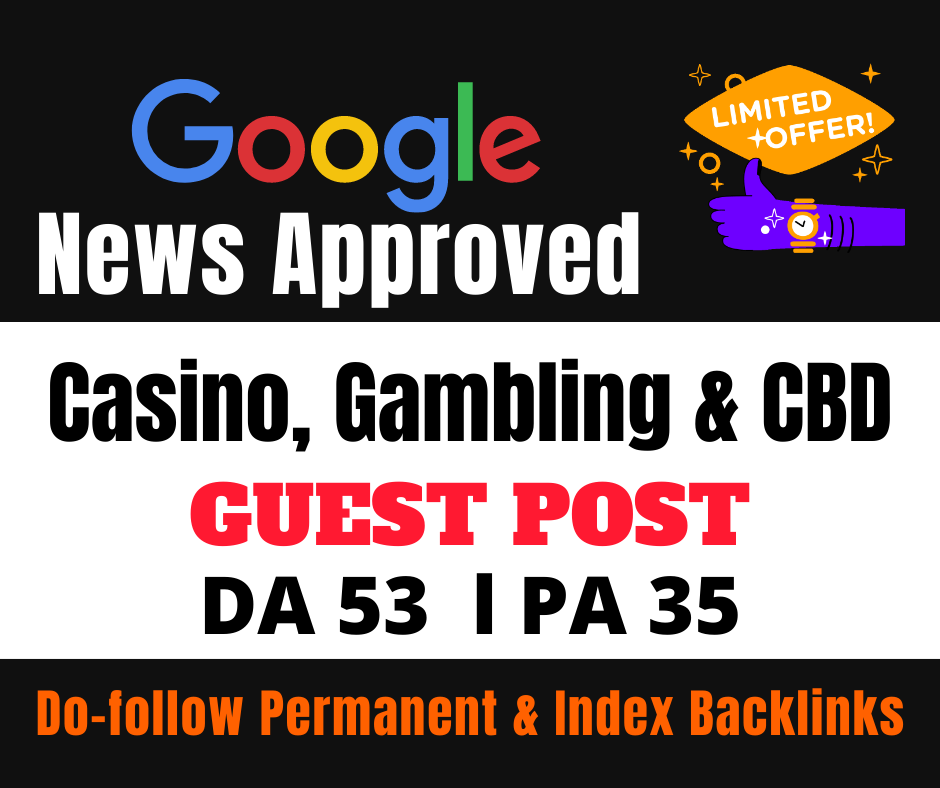 I Will Provide You 01 High Quality Google News Approved Dofollow Guest Post Backlinks