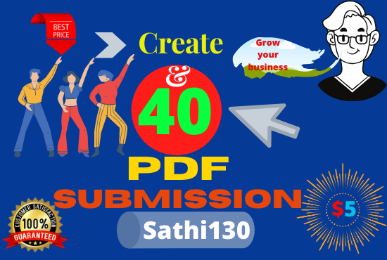 Create and submit 40 PDF IN high authority document sharing sites