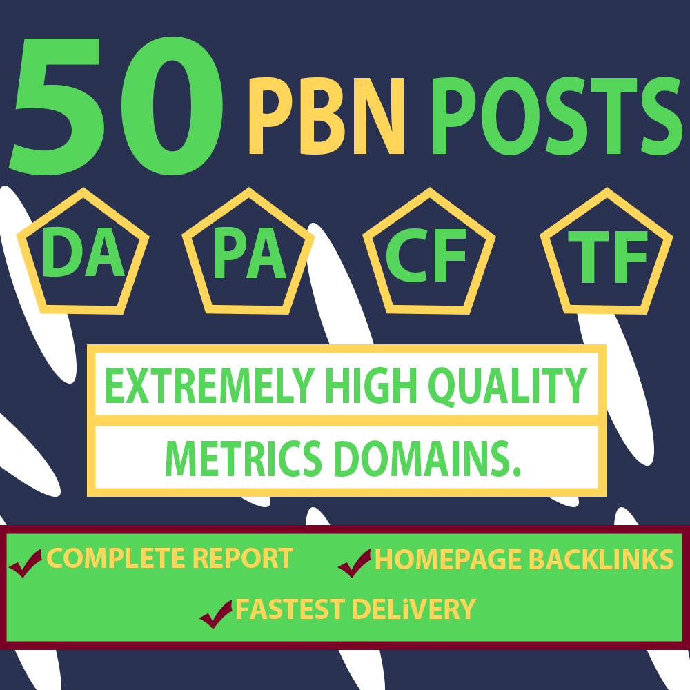 Providing Dofollow Manually 50 Homepage PBN Links DA 25+ Price 12