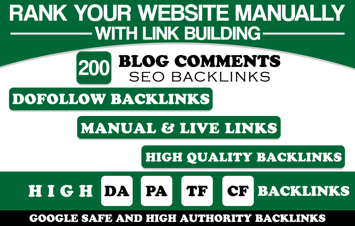 I will Build Manually 200 Blog Comment Unique Domains SEO Backlinks High DA PA