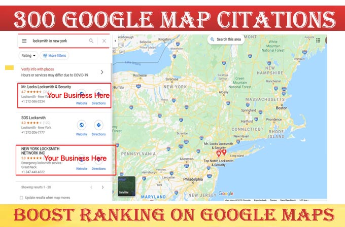 I will do 300 google map point citations for any country any location