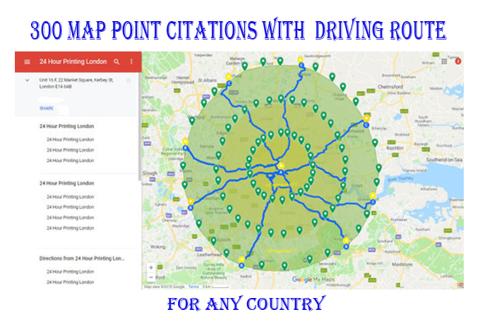 I will do 50 map point citations with add driving route