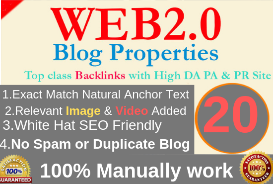 I Will Create 20 High Quality Web2.0 Backlinks