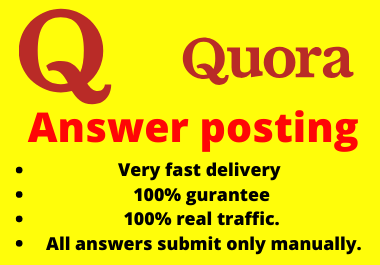Promote your website 30 High quality Quora Answer very fast delivery
