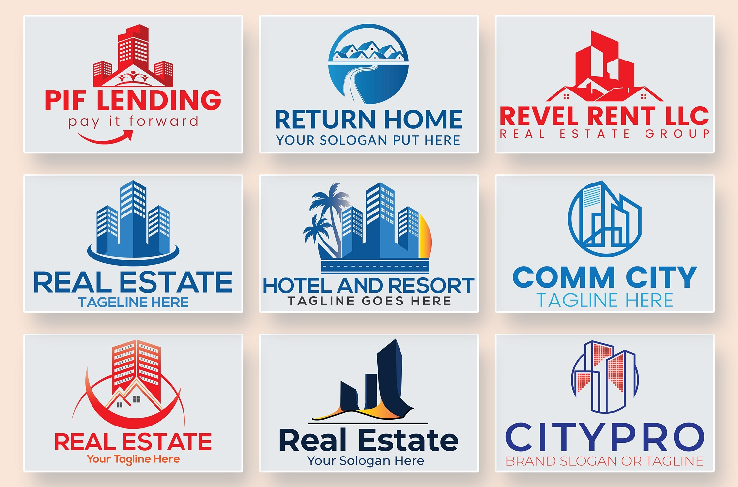 Real Estate Construction Property Home Logo Design in 24hr