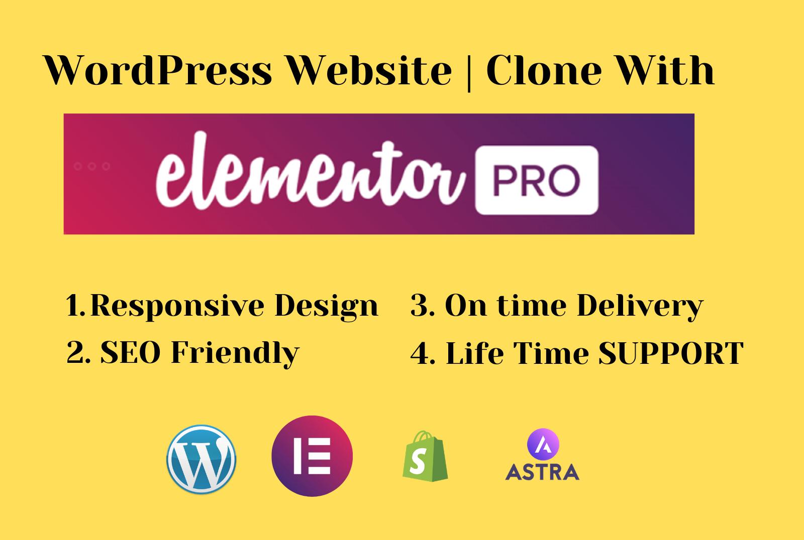 Create responsive wordpress website using elementor pro