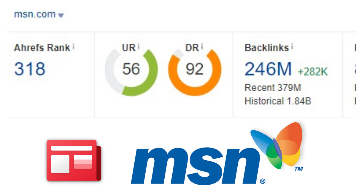 Do follow backlink on MSN. com DR 90+,  DA 90+ World largest news site