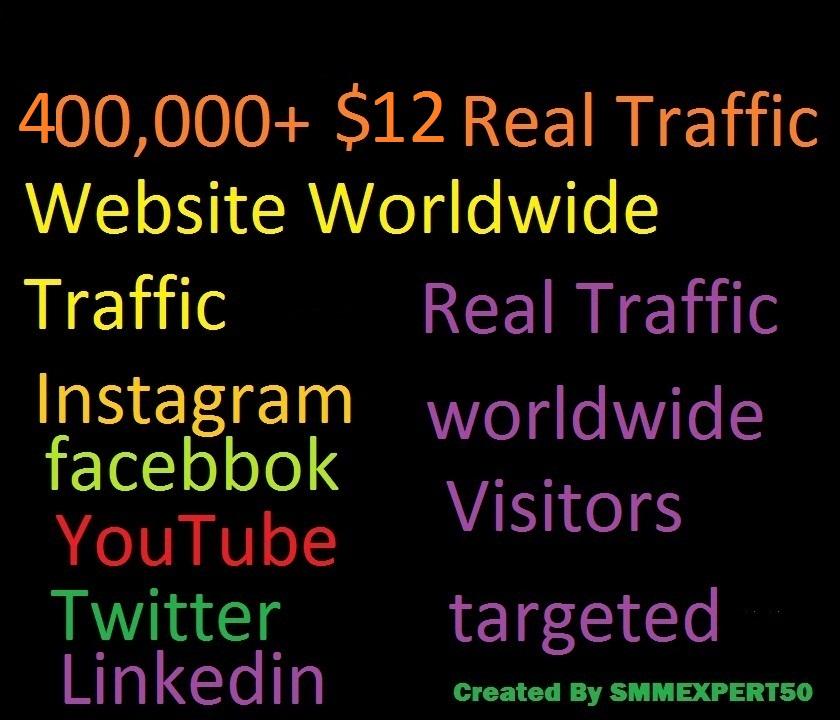 Real 400,000 Website Worldwide Traffic Visitors Instagram facebook youtube twitter Linkedin for