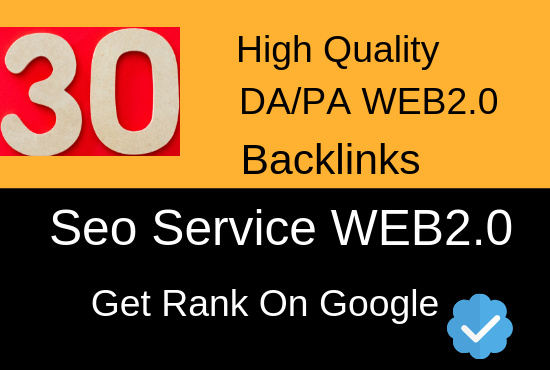 Manually Create 30 High Quality Web2.0 Backlinks