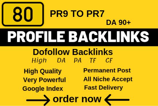 Manually Create 80 Profile Backlinks On High PR, Da Sites And SEO Audit