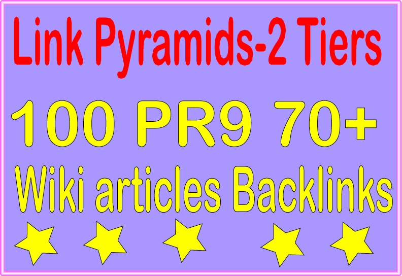 Perfect Package Pyramids -6000 Wiki articles & 100 PR9 DA 70+ Tiered Backlinks