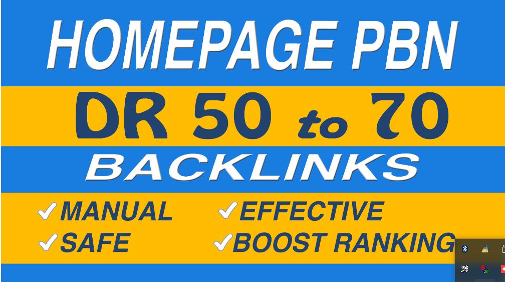 Make 70 DR 50 to 70 homepage pbn backlinks