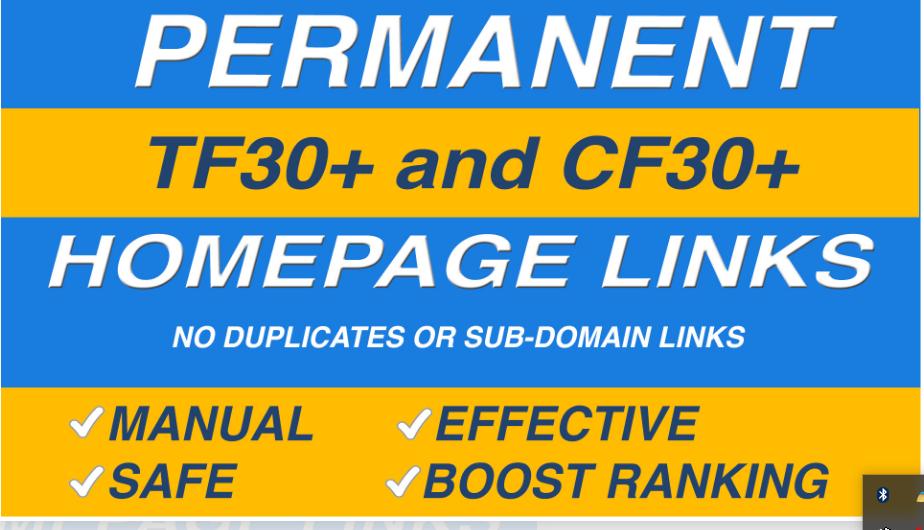 Order do high tf cf permanent homepage pbn backlinks