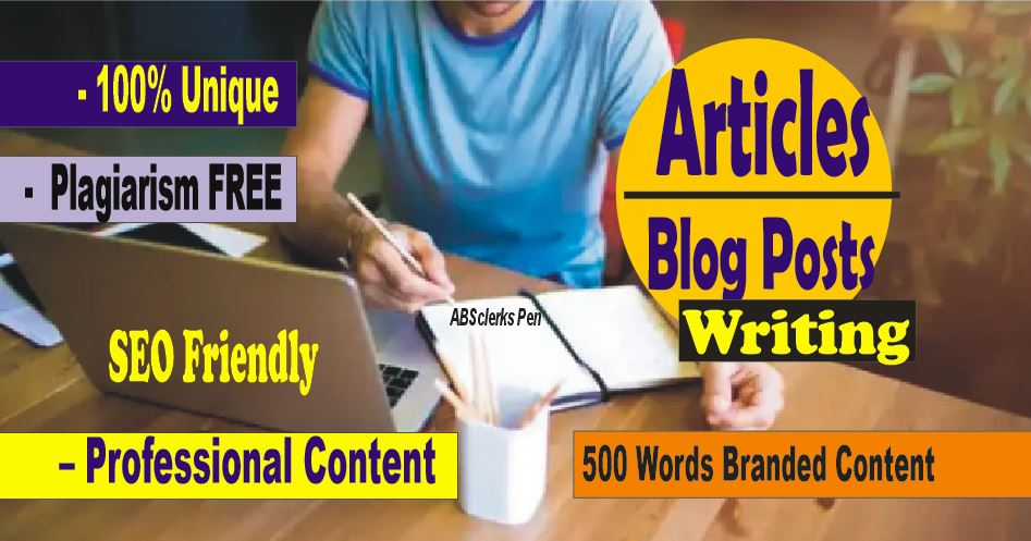 Writing Specialist - 500 + words Article or Blog Posts/ News