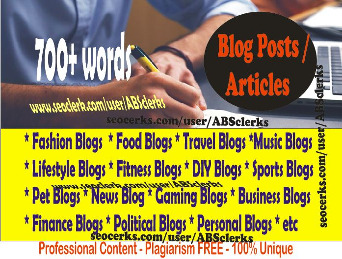 Expert Writes 700+ Words ARTICLE writing or BLOG POSTs/ Website content