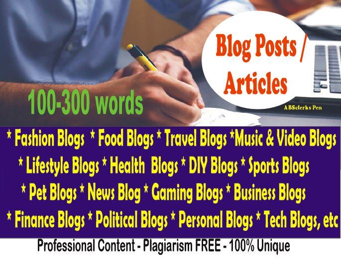 Expert Content Writer - Article/ Blog Post/ News/ Rewriting