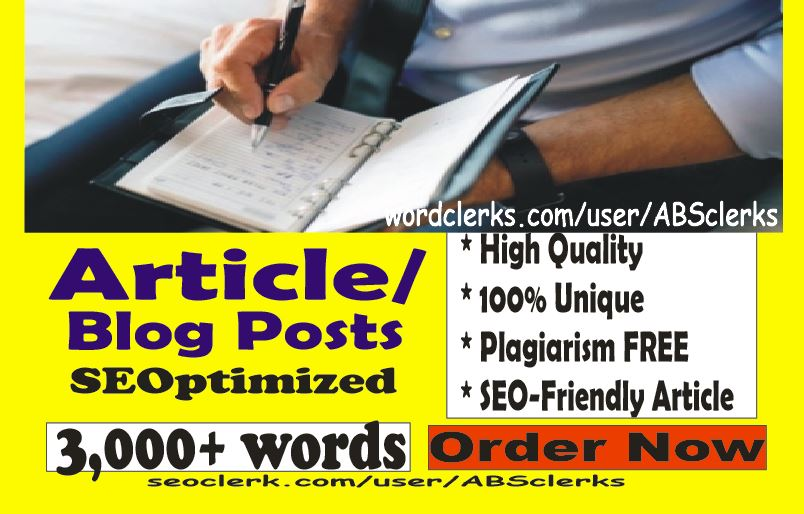 Professional 3000 + words ARTICLES or BLOG POST or WEBSITE content writing- SEO High Quality writer