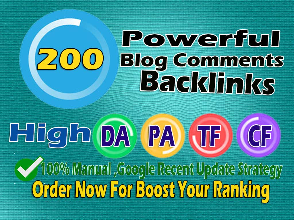 i will do 200 high quality blog comment on high Da pa