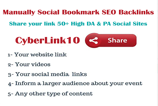 I will submit URL bookmark backlink social content sharing sites