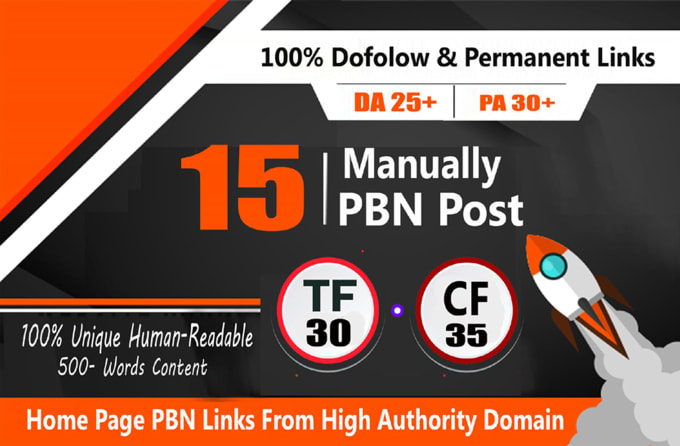 i will provide 15 Unique Domain Homepage & Dofollow PBN Backlink DA/PA 25 to 50+