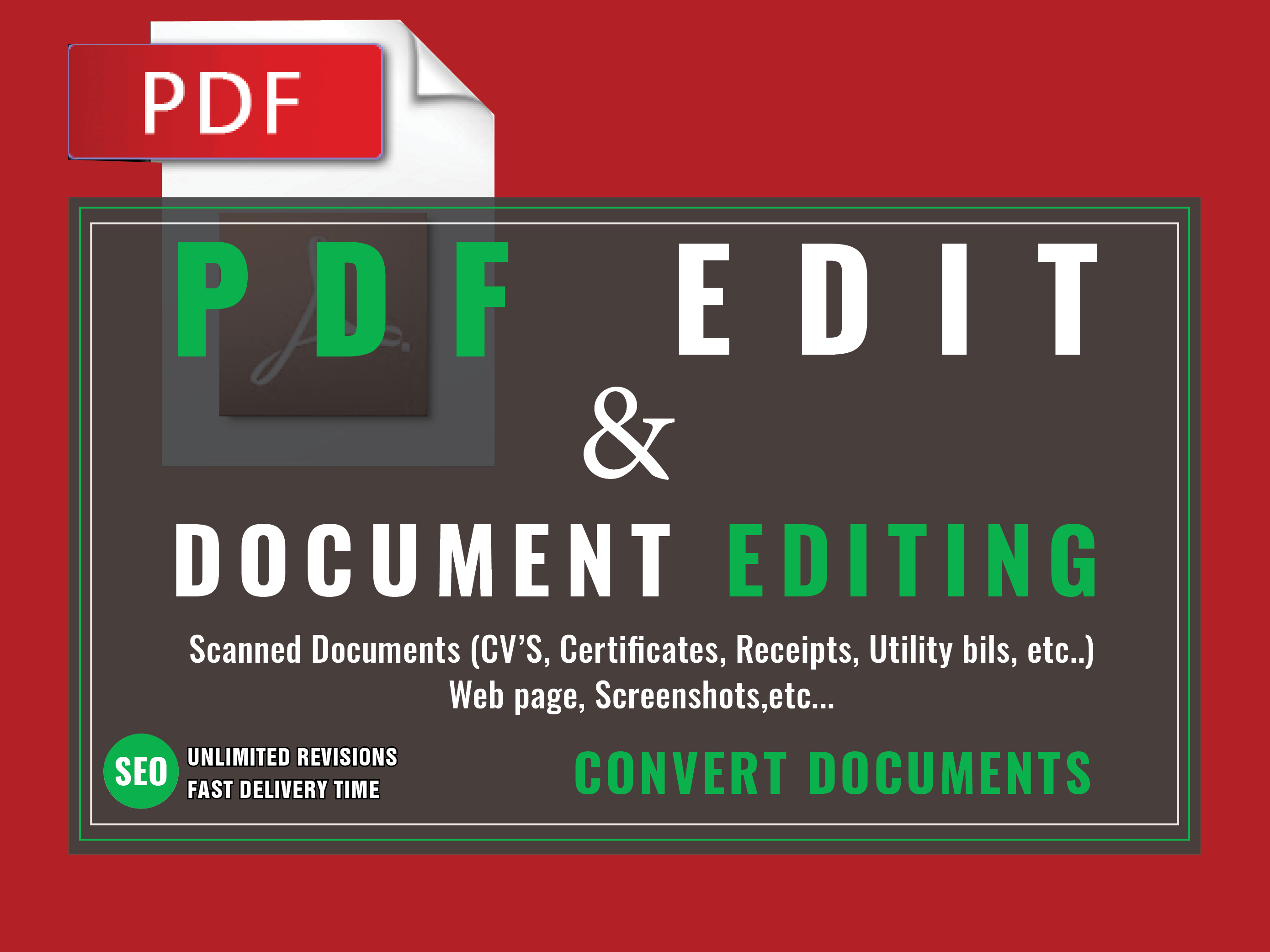 edit PDF, any other type of document and Convert PDF