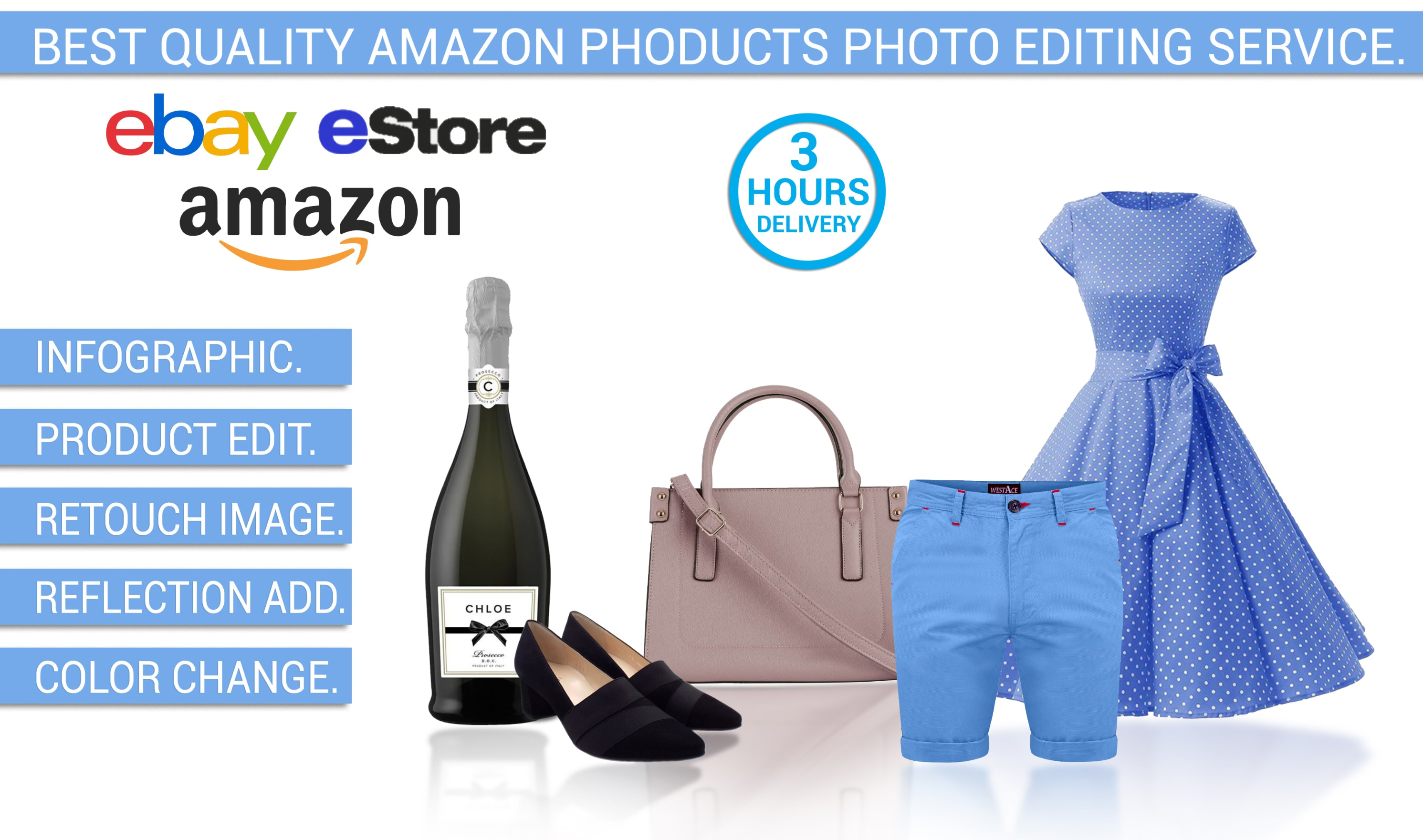 I will do 50 amazon product photo editing,  retouch,  background remove