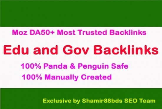 create manually 70 edu and gov MOZ DA50+MOST TRUSTED backlink