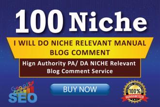 provide 100 niche relevent da60-100 blog comment manually backlink