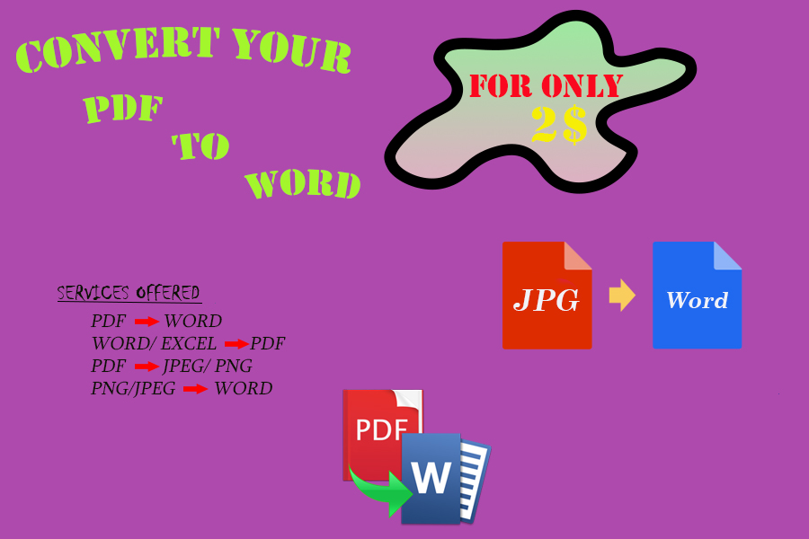 I Will Convert Your PDF, JPEG to WORD