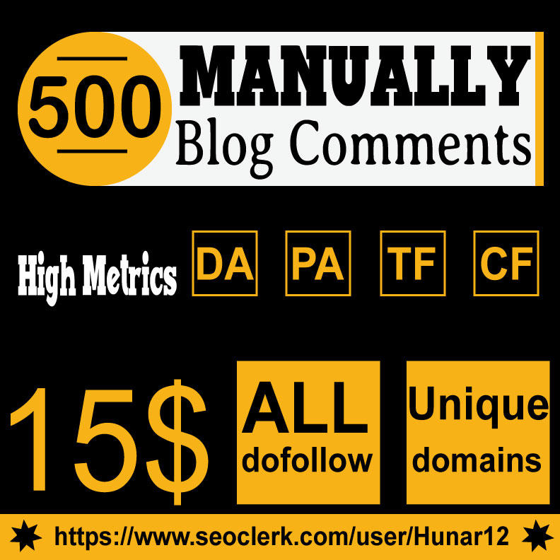 Do 500 HQ Blog Comment Dofollow Backlinks