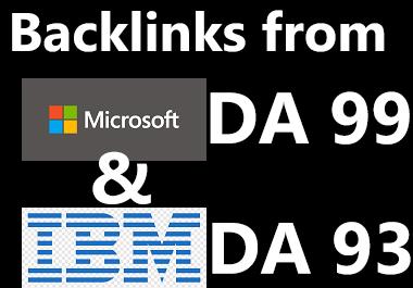 Dofollow backlinks from Microsoft & Ibm DA 99 & 93