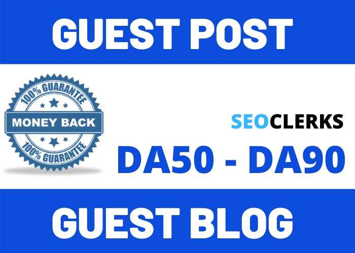 Write & Publish 20 Guest Post Blog Post Average DA50 DA90 Website