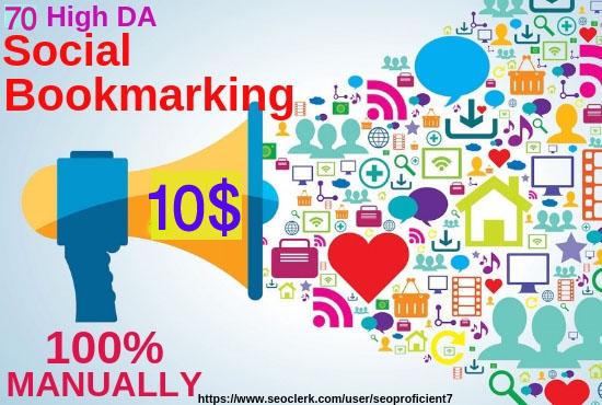 Create 70 High DA90 Social Bookmarking manuallay