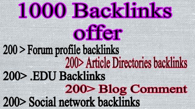 1000 backlinks Forum Profiles Backlinks,  social network Backlinks,  article directories,  Blog comment