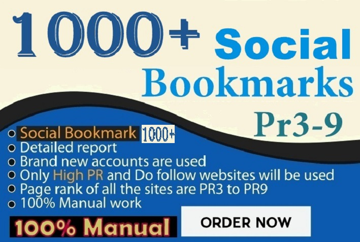 Do 1000 HQ Social Bookmarking Backlinks With DA-PA-TF,100-40 for your Website, Keyword and Youtube