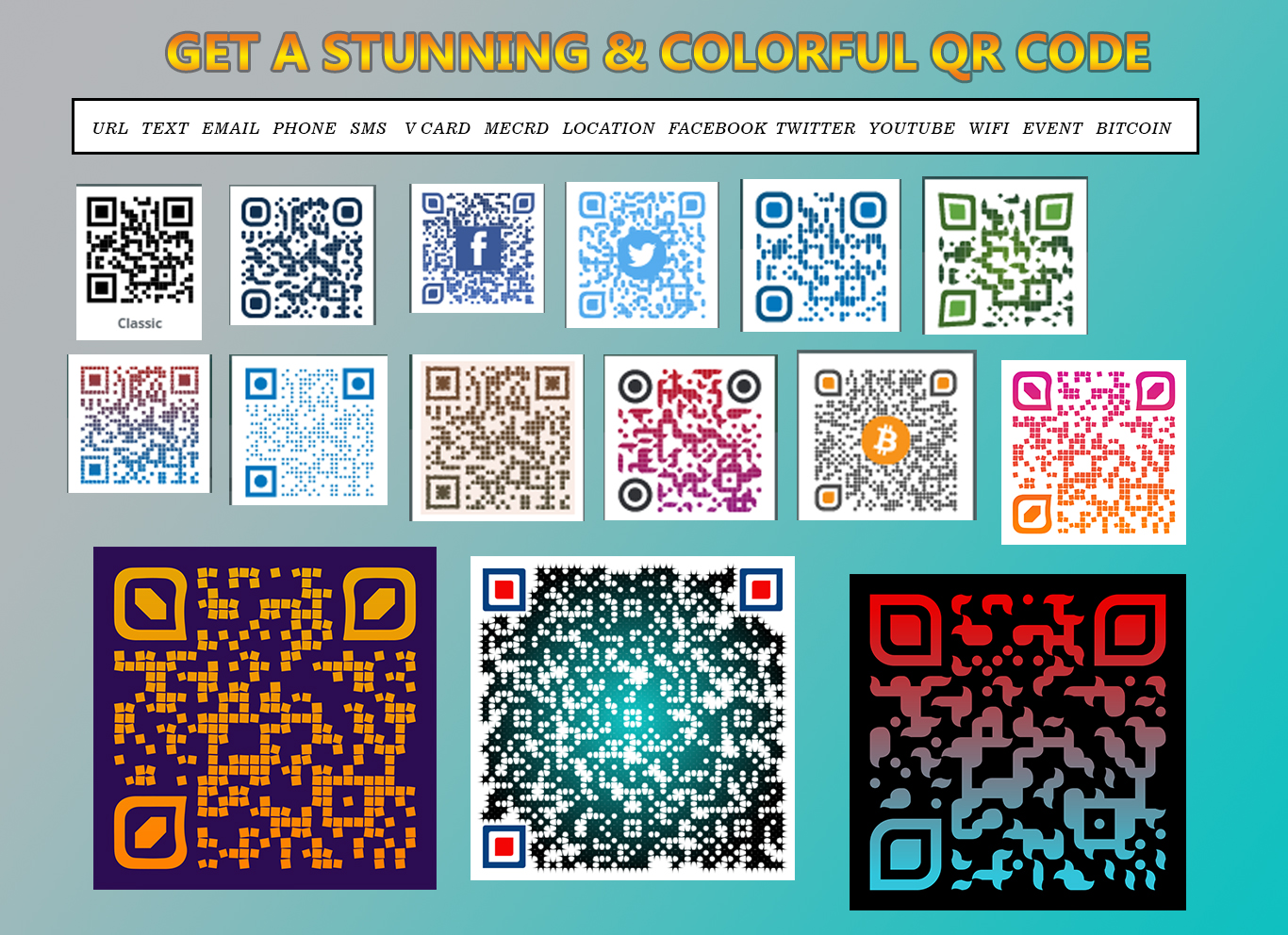 we will generate the professional 3 colorful/black & white QR CODE for you. Within minutes