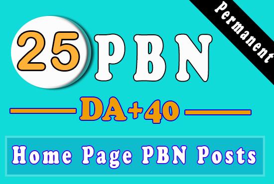 25 Homepage PBN using high DA 40+ To Get Fast Ranking