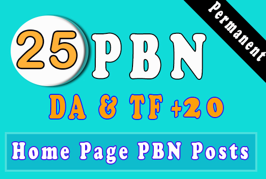 25 Homepage PBN using high DA and TF 20+ To Get Fast Ranking
