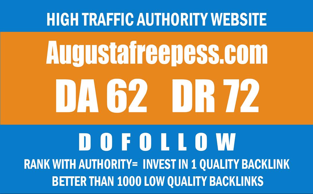 Write & publish Guest post on Augustafreepress. com -DR 72 Dofollow backlink