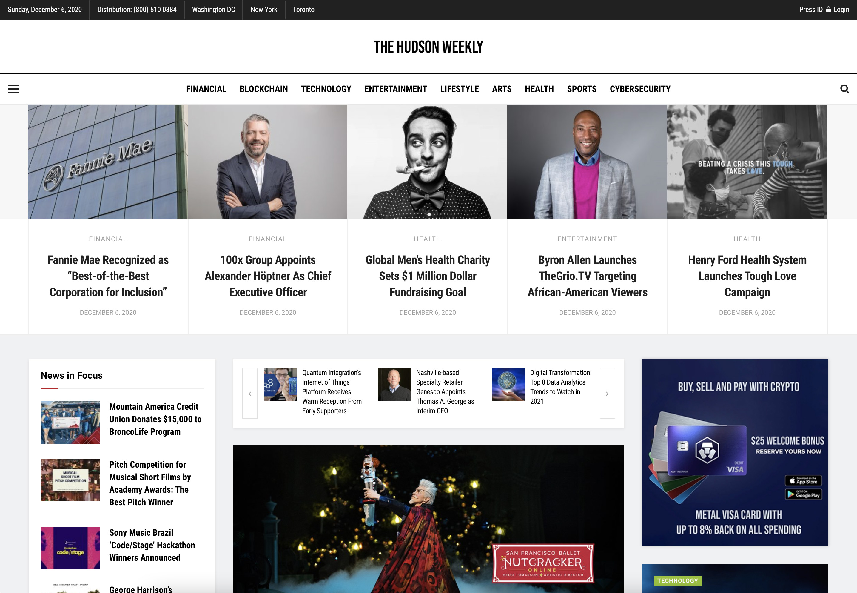 Publish interview or editorial article on HudsonWeekly. com
