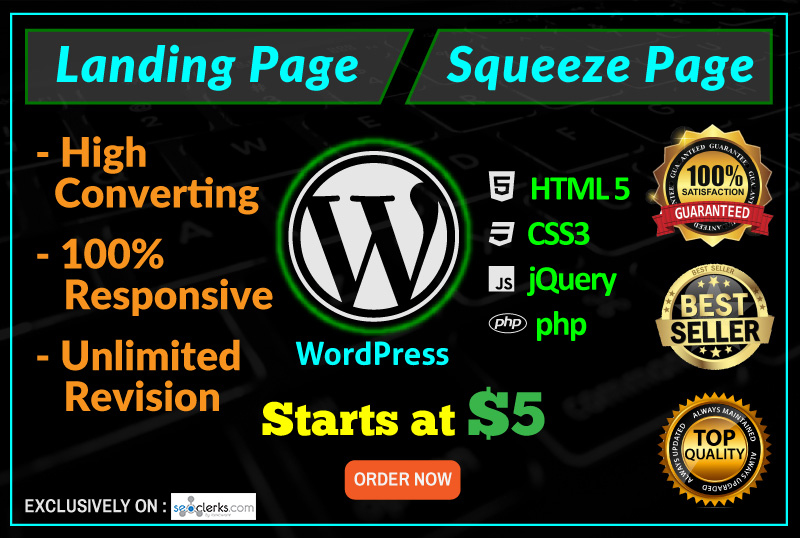 Design Responsive Wordpress Landing Page Or Squeeze Page