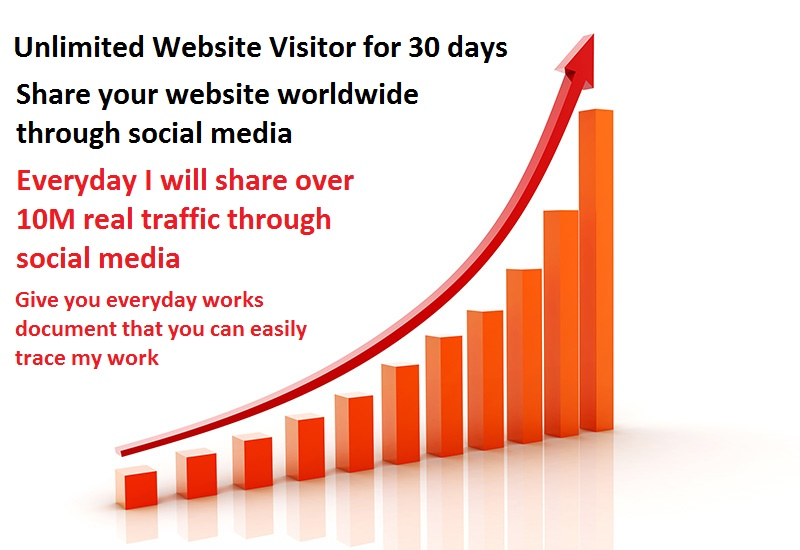UNLIMITED WEBSITE TRAFFIC FOR 30 DAYS,  PER DAY 10M SHARE