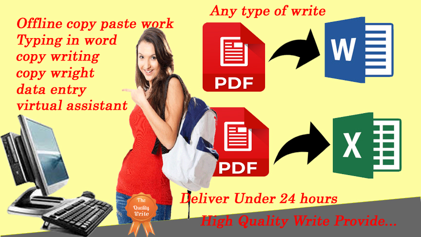 Any type of type writing data entry for your project