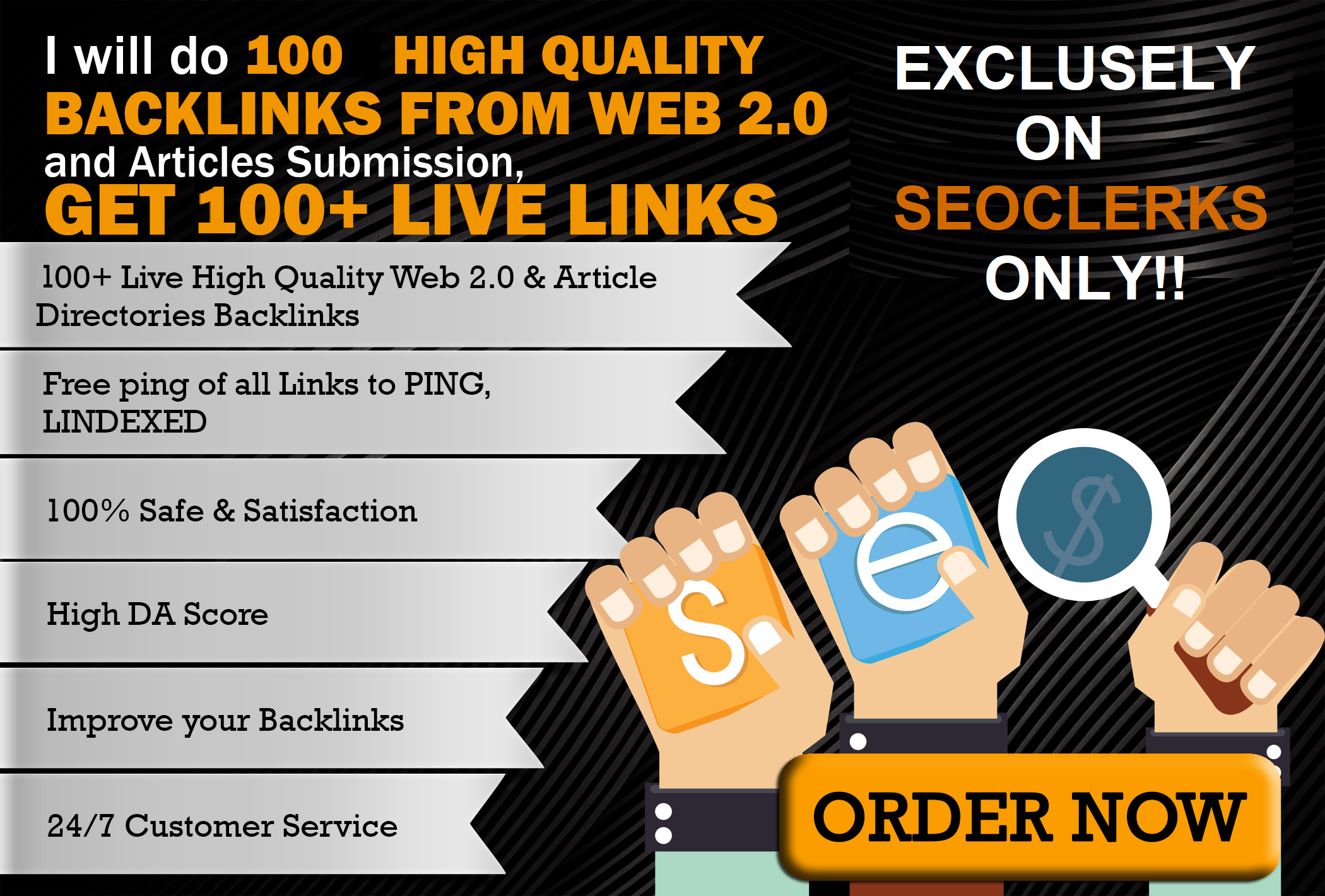 100 high quality seo backlinks from article submission and web 2.0